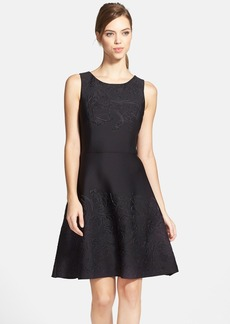 Vera Wang Embossed Scuba Fit & Flare Dress