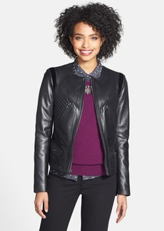 Vera Wang Faux Calf Hair Trim Leather Jacket