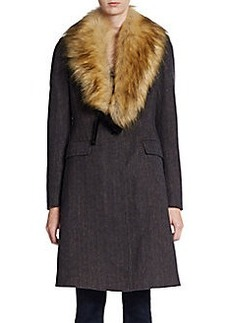 Vera Wang Faux Fur-Collar Knit Coat