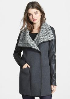 Vera Wang Faux Leather Sleeve Wool Blend Coat
