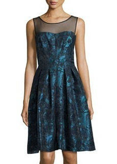 Vera Wang Fit-and-Flare Illusion-Neck Dress, Peacock/Black