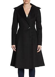 Vera Wang Flared Wool-Blend Topcoat/Black