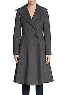Vera Wang Flared Wool-Blend Topcoat/Charcoal
