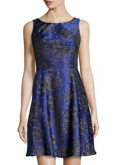 Vera Wang Floral Sleeveless Fit-and-Flare Dress