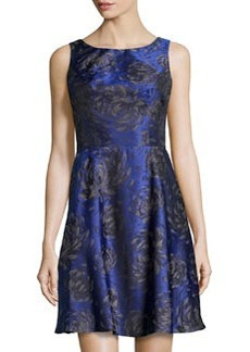 Vera Wang Floral Sleeveless Fit-and-Flare Dress, Bluebird/Black