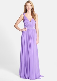 Vera Wang Gathered Chiffon Fit & Flare Gown
