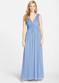Vera Wang Gathered Chiffon Gown