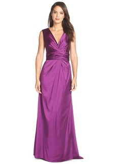 Vera Wang Gathered Satin Gown