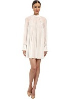 Vera Wang Georgette Long Sleeve Dress w/ Pleats