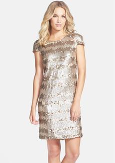 Vera Wang Gold Paillette & Sequin Shift Dress