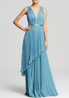 Vera Wang Gown - Deep V-Neck Mini Pleat Tiered Skirt