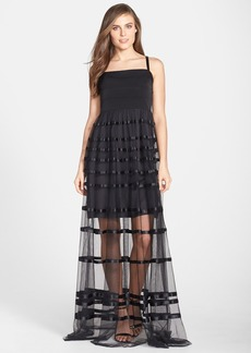 Vera Wang Illusion Stripe Tulle Skirt Gown