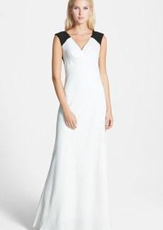 Vera Wang Lace Detail Matte Crepe Gown