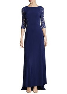 Vera Wang Lace-Inset 3/4-Sleeve Gown, Regency