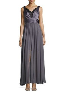 Vera Wang Lace-Trim Ruched Sleeveless Gown, Gray