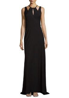 Vera Wang Layered Cutout Sleeveless Gown, Black