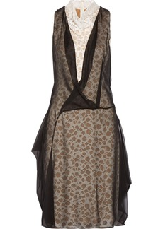 Vera Wang Layered silk-chiffon and lace dress