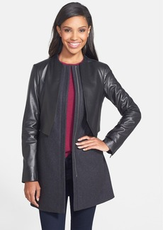 Vera Wang Leather & Wool Blend Front Zip Coat