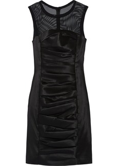 Vera Wang Mesh-paneled satin-twill dress
