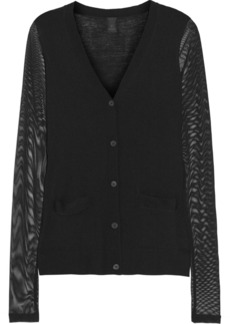 Vera Wang Mesh-paneled wool cardigan
