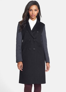 Vera Wang Mixed Media Double Breasted Coat (Online Only)