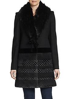 Vera Wang Mixed Media Faux Fur-Collar Coat
