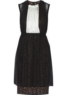Vera Wang Net-paneled silk dress
