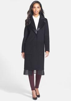 Vera Wang Notch Collar Wool Blend Coat with Chiffon & Faux Calf Hair Trim