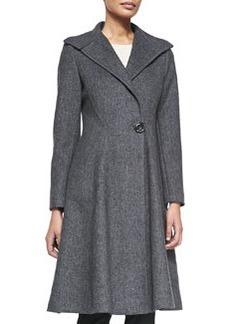 Vera Wang Outerwear One-Button Knit A-Line Coat