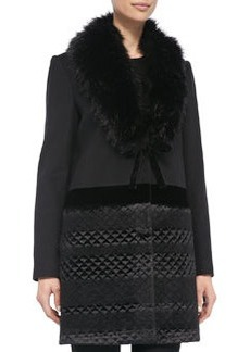 Vera Wang Outerwear Quilted-Bottom Coat w/ Faux Fur Collar