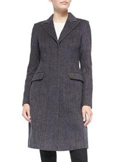 Vera Wang Outerwear Tailored Herringbone Coat w/Faux-Fur Collar