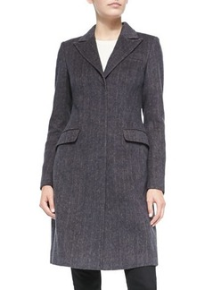 Vera Wang Outerwear Tailored Herringbone Coat w/Faux-Fur Collar