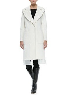 Vera Wang Outerwear Wool Coat W/ Leather-Trim & Chiffon Hem