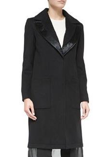 Vera Wang Outerwear Wool Coat W/ Leather-Trim & Chiffon Hem, Black