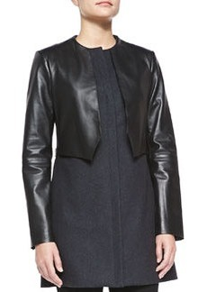 Vera Wang Outerwear Zip-Front Wool & Leather Coat