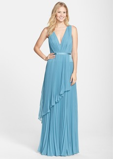 Vera Wang Pleated Chiffon Gown