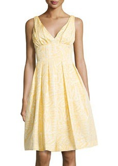 Vera Wang Pleated V-Neck Fit-and-Flare Dress, Yellow