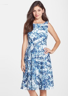 Vera Wang Print Lace Fit & Flare Dress
