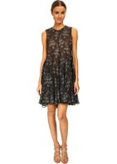 Vera Wang Printed Gauze Sleeveless Trapeze Dress