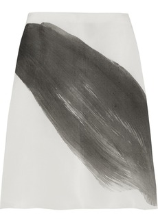 Vera Wang Printed silk-gazar A-line skirt
