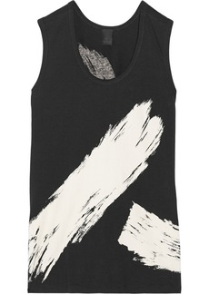 Vera Wang Printed stretch-cotton jersey tank