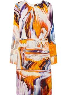 Vera Wang Printed stretch silk-blend dress