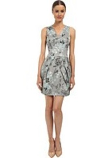Vera Wang Printed Stretch Viscose V-Neck Sleeveless Dress w/ Tulip Skirt