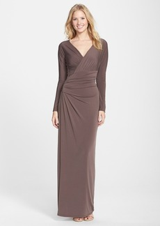 Vera Wang Ruched Jersey Gown