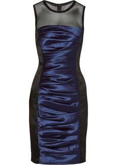 Vera Wang Ruched satin-twill dress