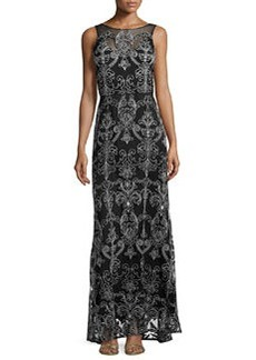 Vera Wang Scroll-Embroidered Evening Gown, Black, Ivory