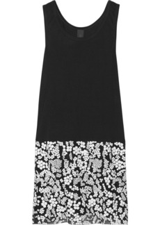 Vera Wang Sequin and tulle-embellished jersey dress