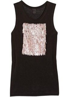 Vera Wang Sequin-embellished jersey top