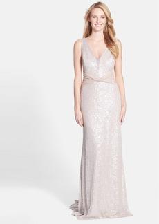 Vera Wang Sequin Mesh Gown