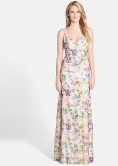 Vera Wang Sequin Stretch Fit & Flare Gown
